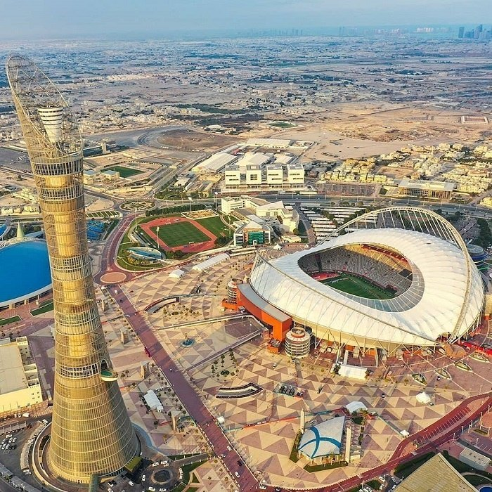 Panoramic view of Aspire Tower in Qatar