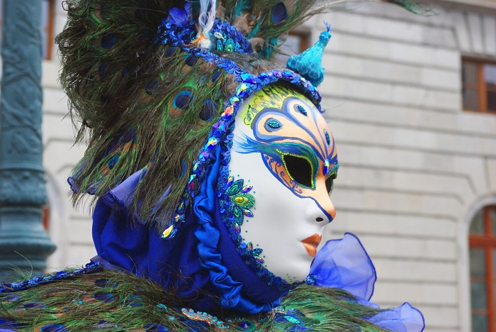 Close-up of a meticulously decorated mask during the Annecy Venetian Carnival