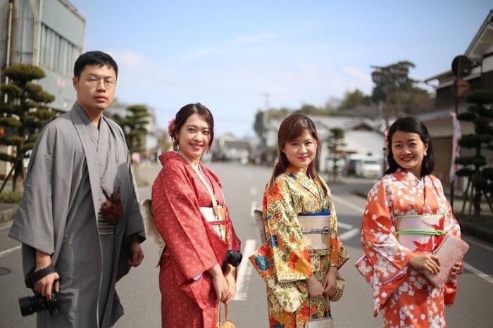 Thành cổ Kitsuki - được trải nghiệm mặc Kimono
